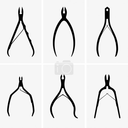 Illustration for Set of six manicure nippers - Royalty Free Image