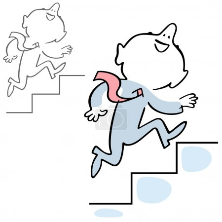 Illustration for Man climbing the stairs of his career - Royalty Free Image