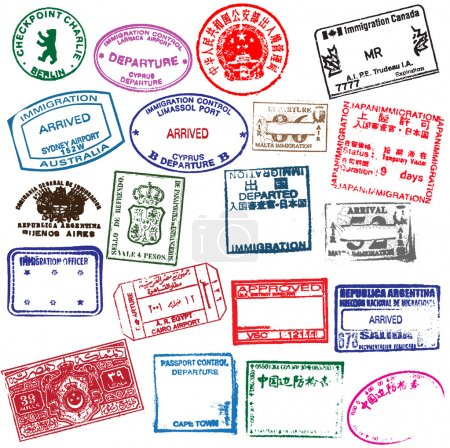 Various visa stamps from passports from worldwide travelling.