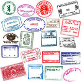 Various visa stamps from passports from worldwide travelling