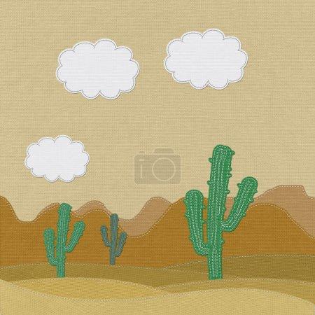 Photo pour Cactus du désert avec couture style sur fond de tissu - image libre de droit