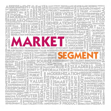 Business word cloud for business and finance concept, Market Segment