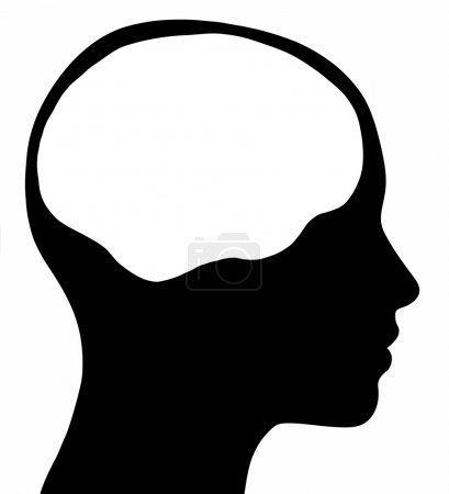 Photo for A graphic of a female head silhouette with a white brain area. Isolated on a solid white background. - Royalty Free Image