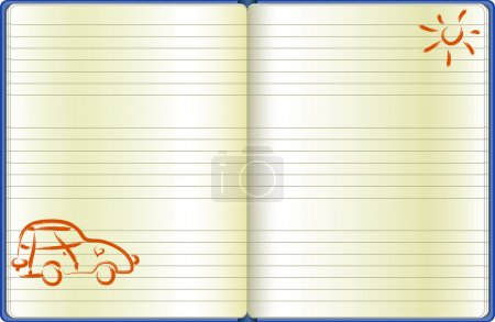 The notebook page with a drawn car