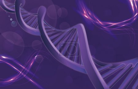Illustration for Image of DNA strand against colour background - Royalty Free Image