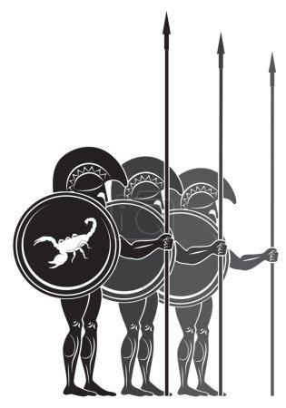 На рисунке изображены воины