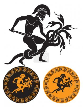 The figure shows Hercules and the Hydra monster...