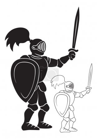 The figure shows a knight with a sword