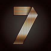Number metal gold ribbon - 7 - seven