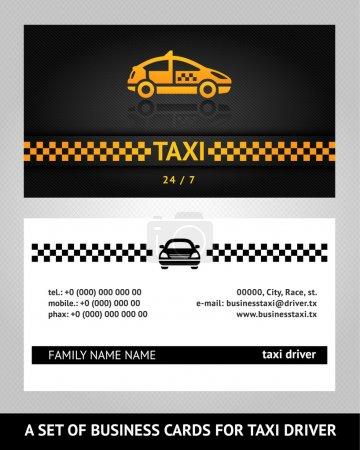 Illustration pour Cartes de visite taxi cabine, modèle vectoriel 10eps - image libre de droit
