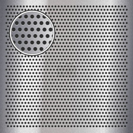 Chrome metal sheet surface with holes, 10eps
