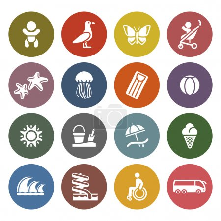 Illustration for Vacation, Travel & Recreation, icons set - Retro color version - Royalty Free Image