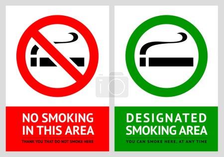 No smoking and Smoking area labels - Set 1