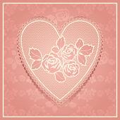Pink lace in heart shape