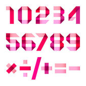 Spectral letters folded of paper pink & magenta ribbon - Arabic numerals (0 1 2 3 4 5 6 7 8 9)