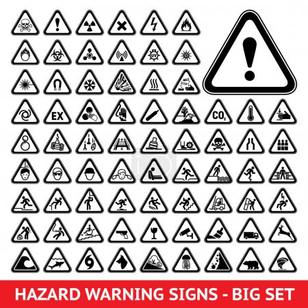 Triangular Warning Hazard Symbols. Big set