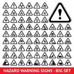 Triangular warning hazard symbols. Big set...