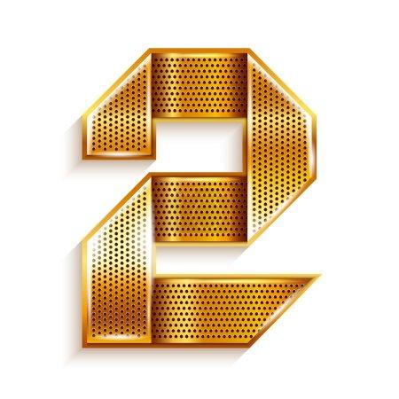 Number metal gold ribbon - 2 - two