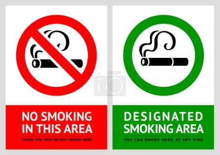 No smoking and Smoking area labels - Set 7