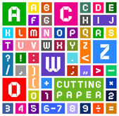 Alphabet of paper cut out white on multicolor background