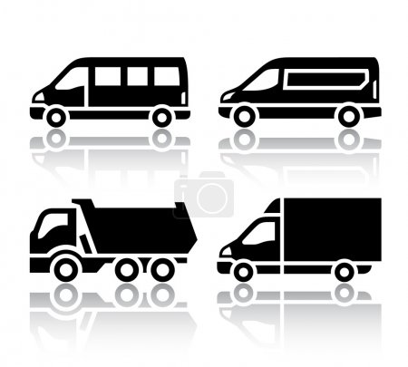 Illustration for Set of transport icons - freight transport, vector illustration isolated on a white background - Royalty Free Image