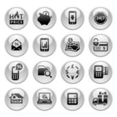 Shopping Icons Gray round buttons new