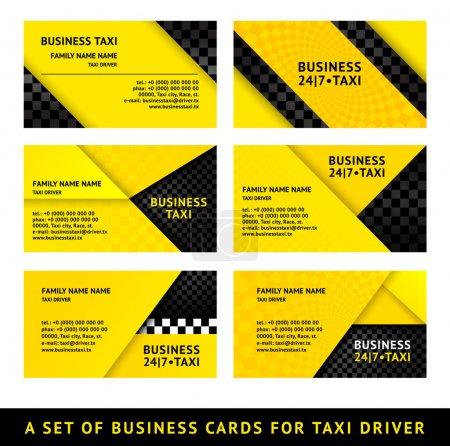 Illustration pour Taxi carte de visite - neuvième ensemble - image libre de droit