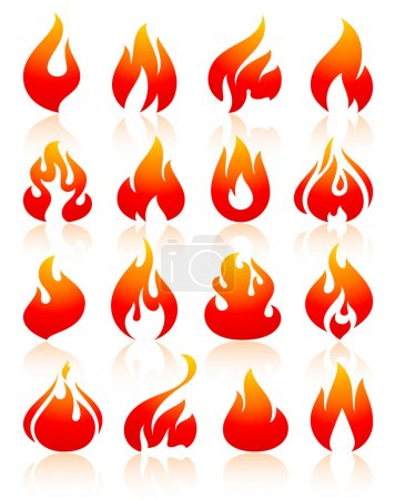 Illustration for Flame redish, set icons with reflection on white background, vector illustration - Royalty Free Image