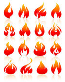 Flame redish set icons with reflection on white background vector illustration