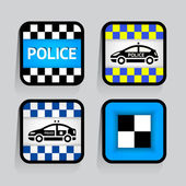 Police - set stickers square on the gray background