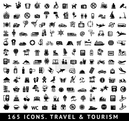 Illustration for 165 icons. Travel symbol and Tourism pictograms, vector illustration - Royalty Free Image