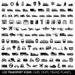 120 Transport icons: Cars, Ships, Trains, Planes.....