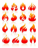 Fire flames red set icons