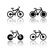 Set of transport icons - bikes vector illustrations set silhouettes isolated on white background