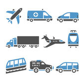 Transport Icons - A set of seventh Vector illustrations set silhouettes isolated on white background Bicolor (blue and gray colors)