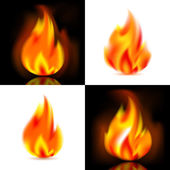 Fire 4 vector flames Vector illustration 10eps