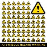 72 symbols triangular warning hazard. Big yellow s...