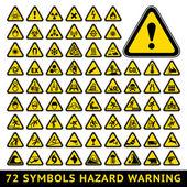 """Постер, картина, фотообои """"Треугольные символы предупреждение опасности. Большой желтый набор"""""""
