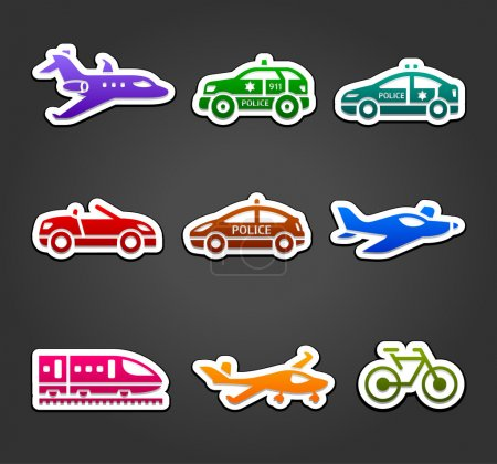 Set of sticky stickers, transport color pictograms