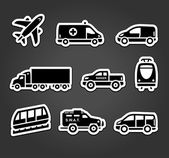 Set of stickers transport icons vector illustration
