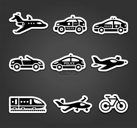 Set of sticky stickers, transport pictograms