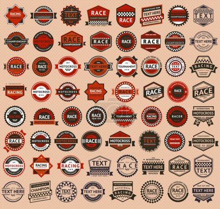 Illustration for Racing badges - vintage style, big set, vector illustration - Royalty Free Image