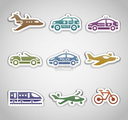 Flat retro color stickers - Set one