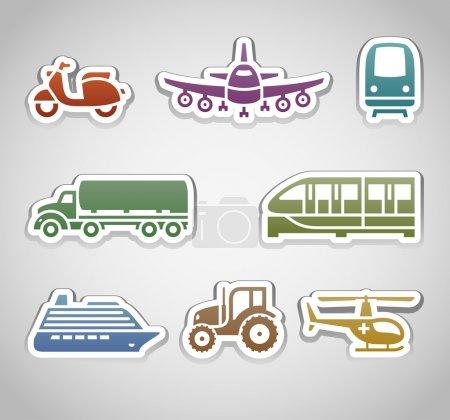 Photo pour Stickers plat couleur rétro - set six - image libre de droit