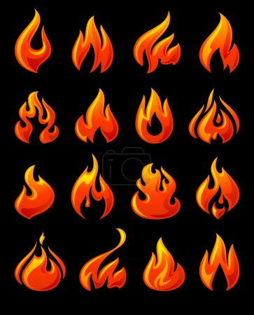 Fire flames, set 3d red icons on a black ground
