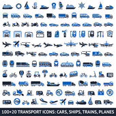 100 AND 20 Transport blue icons vector illustrations silhouettes isolated on white background