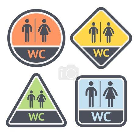 Illustration pour Ensemble de symboles de toilettes, enseignes plates couleur rétro, illustrations vectorielles - image libre de droit