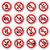 Set Prohibited signs paper stickers Nature symbols vector illustration