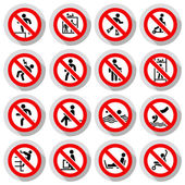 Prohibited signs paper sticky vector illustration