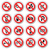 Prohibited symbols set Shop signs on paper sticker vector illustration